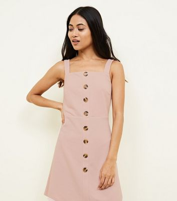 Petite Pale Pink Button Front Pinafore Dress
