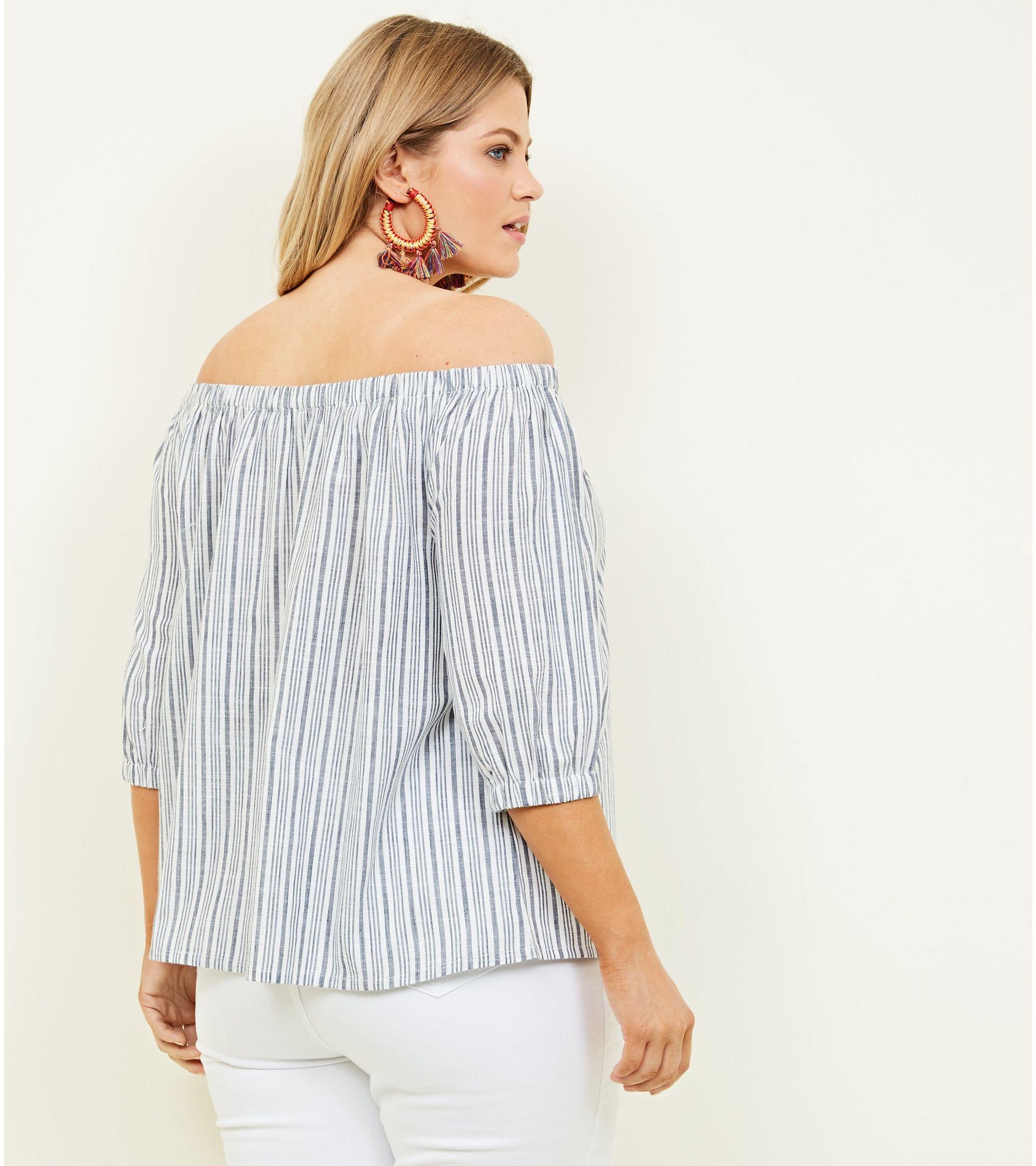 7b7d6df468324d New Look Curves Blue Woven Stripe Bardot Top at £10