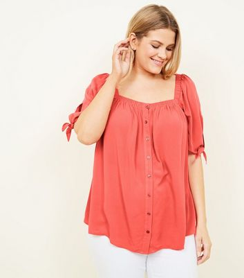 Curves Coral Square Neck Top
