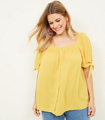 Curves Yellow Square Neck Top