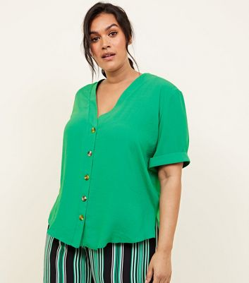 Curves Green Button Front Boxy Shirt