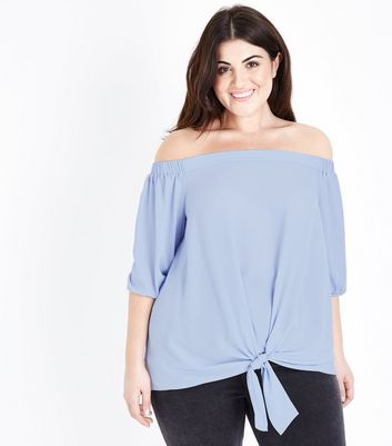 Curves Pale Blue Tie Front Bardot Top