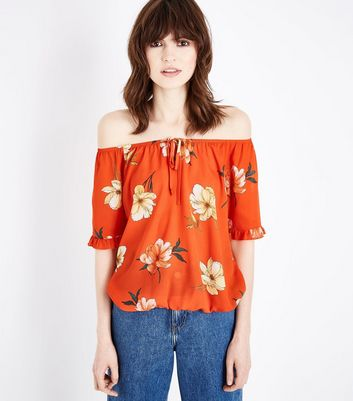 Orange Floral Print Bardot Neck Top