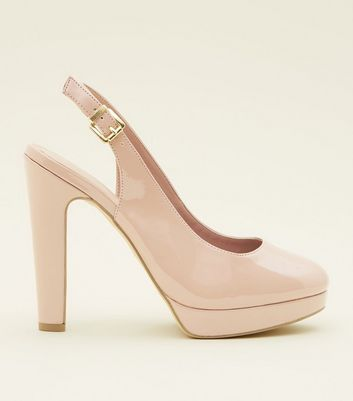 Wide Fit Nude Patent Platform Slingback Courts