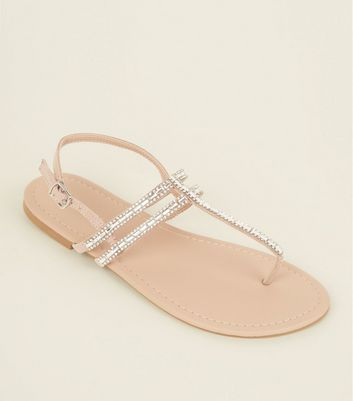 Pink Diamanté Embellished Strappy Flat Sandals by New Look