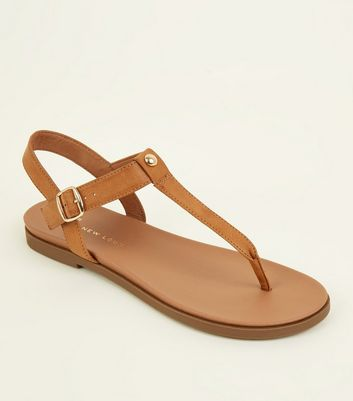 Wide Fit Tan Foodbed Sandals