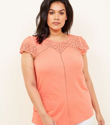 Curves Coral Broderie Yoke T-Shirt