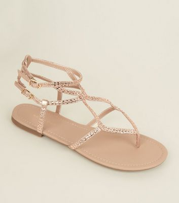 Rose Gold Gem Studded Multi Strap Sandals
