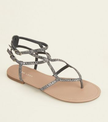 Pewter Gem Studded Multi Strap Sandals