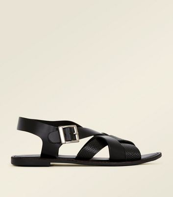 Black Leather Faux Snakeskin Strap Flat Sandals