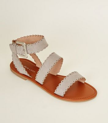 Grey Suedette Scallop Strap Flat Sandals