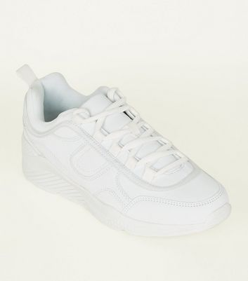 White Leather Look Panelled Chunky Trainers by New Look