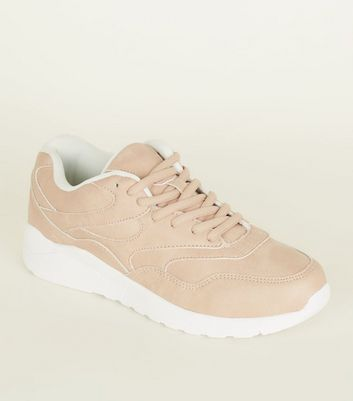 Nude Lace-Up Chunky Trainers