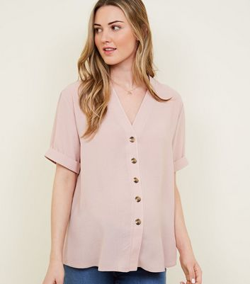 Maternity Pale Pink V Neck Boxy Shirt