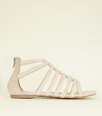 Girls Off White Knot Strap Gladiator Sandals