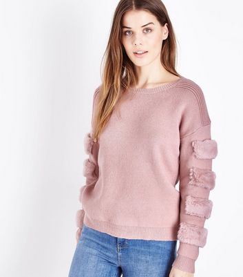 Cameo Rose Mid Pink Faux Fur Patch Sleeve Jumper
