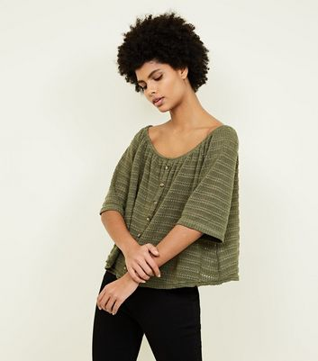Olive Green Drop Stitch Button Front Bardot Top
