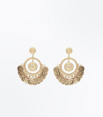 Gold Coin Embossed Hoop Earrings