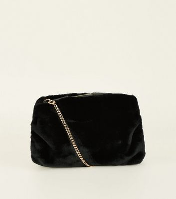 Black Faux Fur Hand Warmer Cross Body Bag