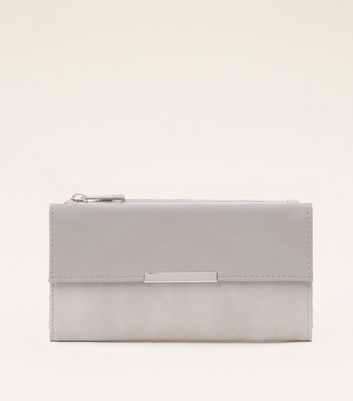 Grey Colour Block Silver Trim Purse by New Look