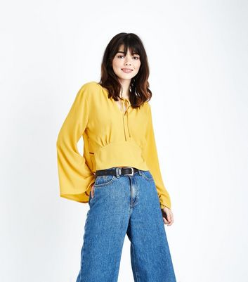 Cameo Rose Mustard Keyhole Tie Front Blouse