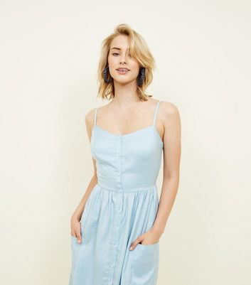 Tall Pale Blue Button Front Midi Sundress