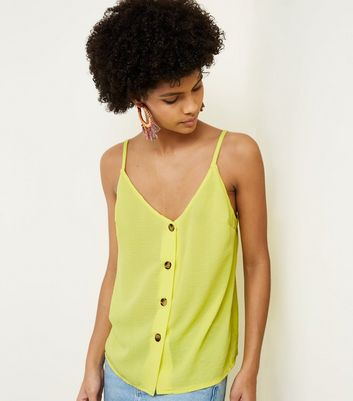 Cameo Rose Yellow Contrast Button Cami