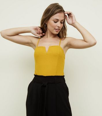 Yellow Notch Neck Bodysuit by New Look