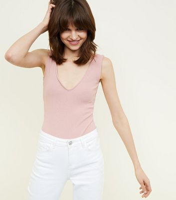 Pale Pink Crepe Ribbed V Neck Bodysuit