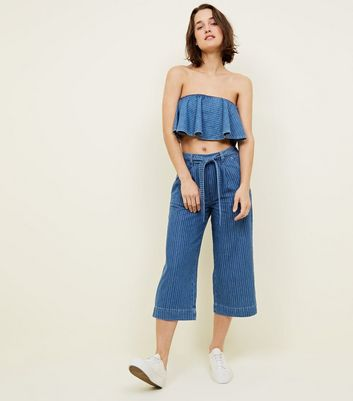Blue Stripe Denim Culottes