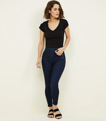 Blue High Waist Zip Back Skinny Hallie Jeans