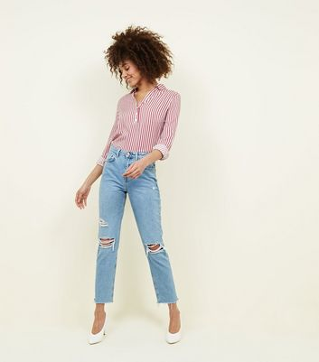 Pale Blue Ripped Knee Tori Mom Jeans