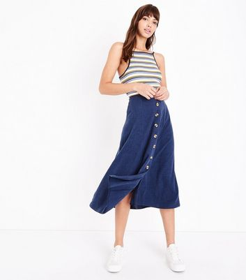 Navy Button Front Midi Skirt