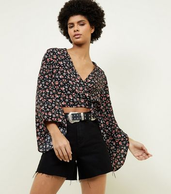 Black Floral Tie Side Wrap Front Top