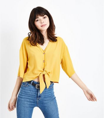 Cameo Rose Mustard Button Tie Front Blouse