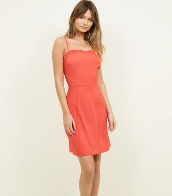 Coral Frill Trim Strappy Skater Dress