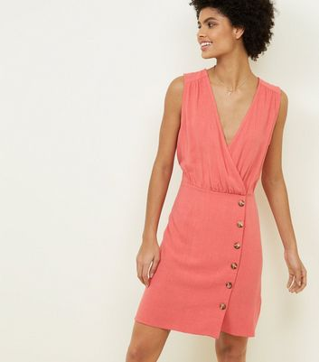 Coral Wrap Front Tortoiseshell Button Dress
