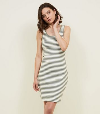 Khaki Stripe Ribbed Bodycon Dress