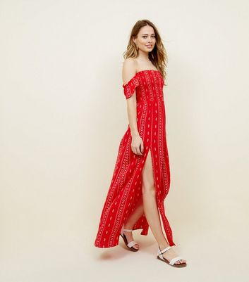 Red Aztec Print Shirred Beach Maxi Dress