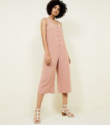 Pale Pink Linen Look Button Front Cropped Jumpsuit by New Look