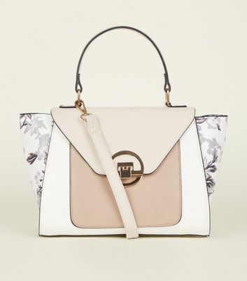 White Floral Printed Contrast Winged Tote Bag