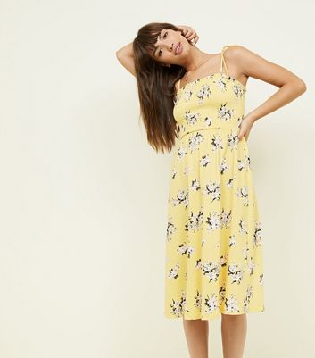 Yellow Floral Shirred Tie Strap Midi Dress