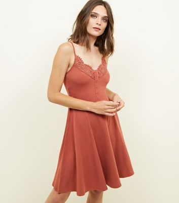 Rust Crochet Trim Button Front Skater Dress