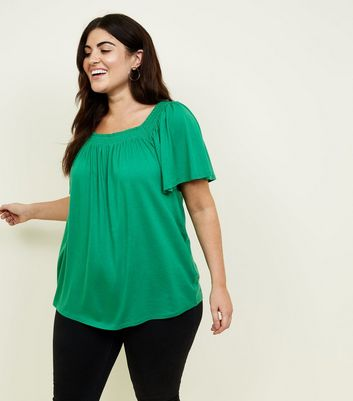 Curves Green Shirred Square Neck Top