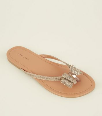 Gold Diamanté Embellished Bow Flip Flops