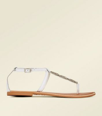 White Leather Diamanté Embellished Flat Sandals