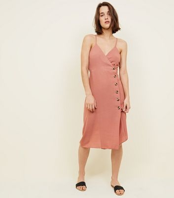 Rust Button Front Midi Wrap Dress