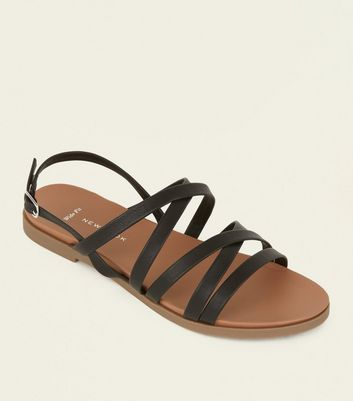 Wide Fit Black Strappy Footbed Sandals