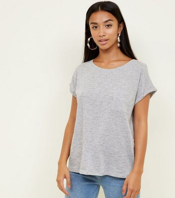 Petite Grey Organic Cotton Pocket Front T-Shirt
