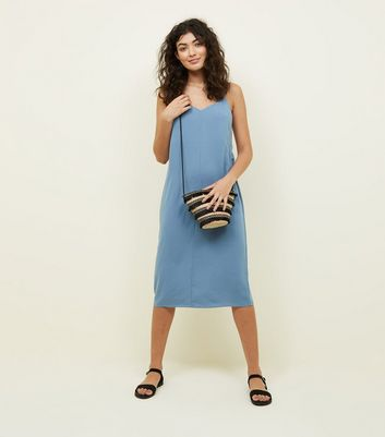 Pale Blue V-Neck Midi Slip Dress